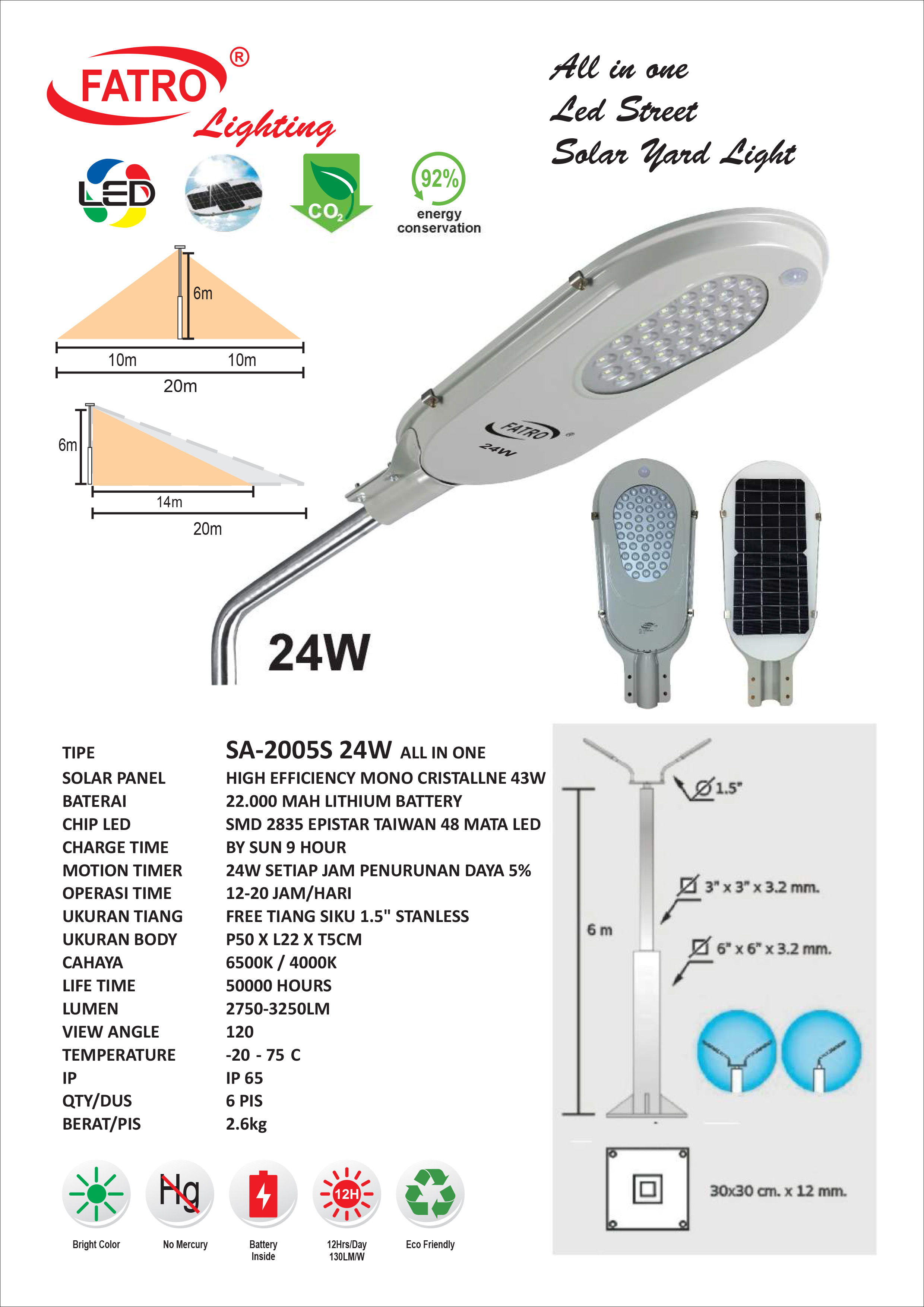 Lampu Jalan LED 24 Watt Solar Cell
