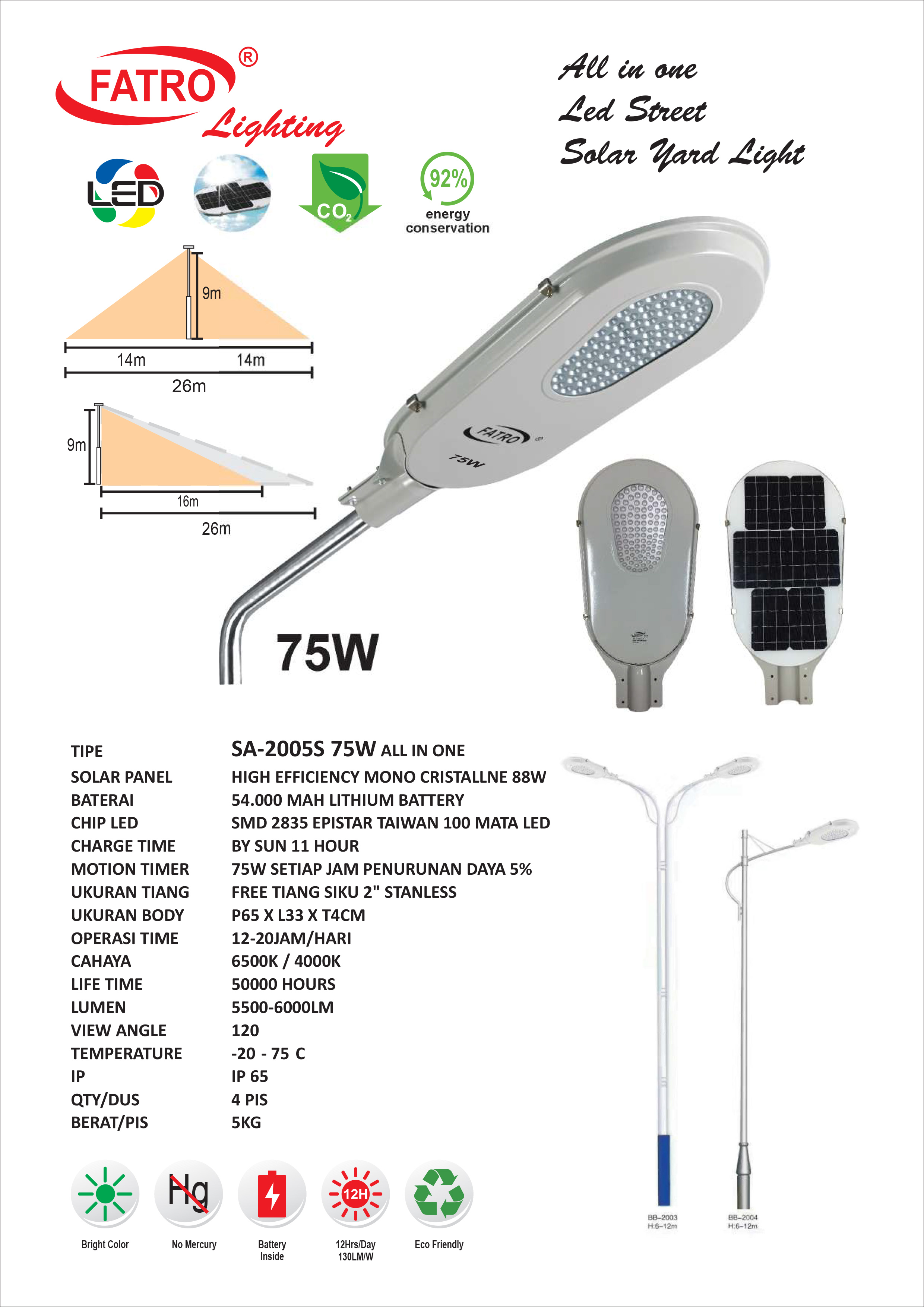 Lampu Jalan LED 75 Watt Solar Cell