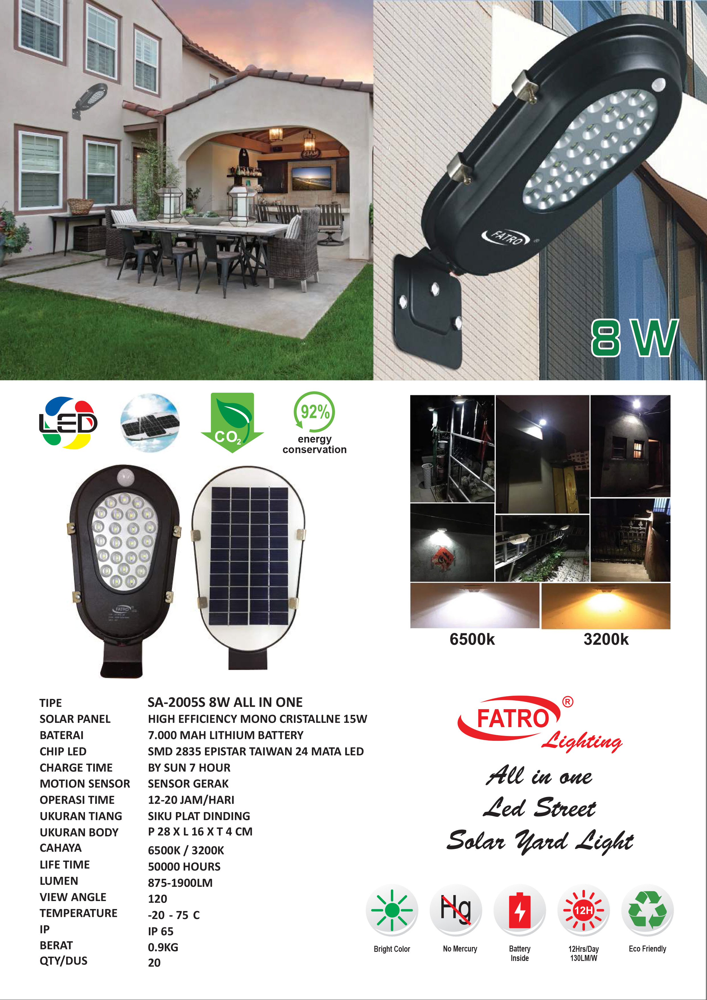 Lampu Jalan LED 8 Watt Solar Cell