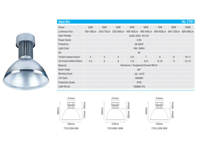 Lampu Industri LED 100 Watt HL-7001