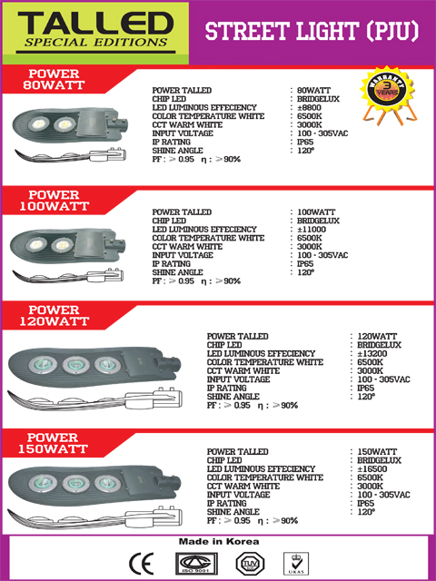 Lampu Jalan LED Talled 80 W, 100 W, 120 W, 150 W