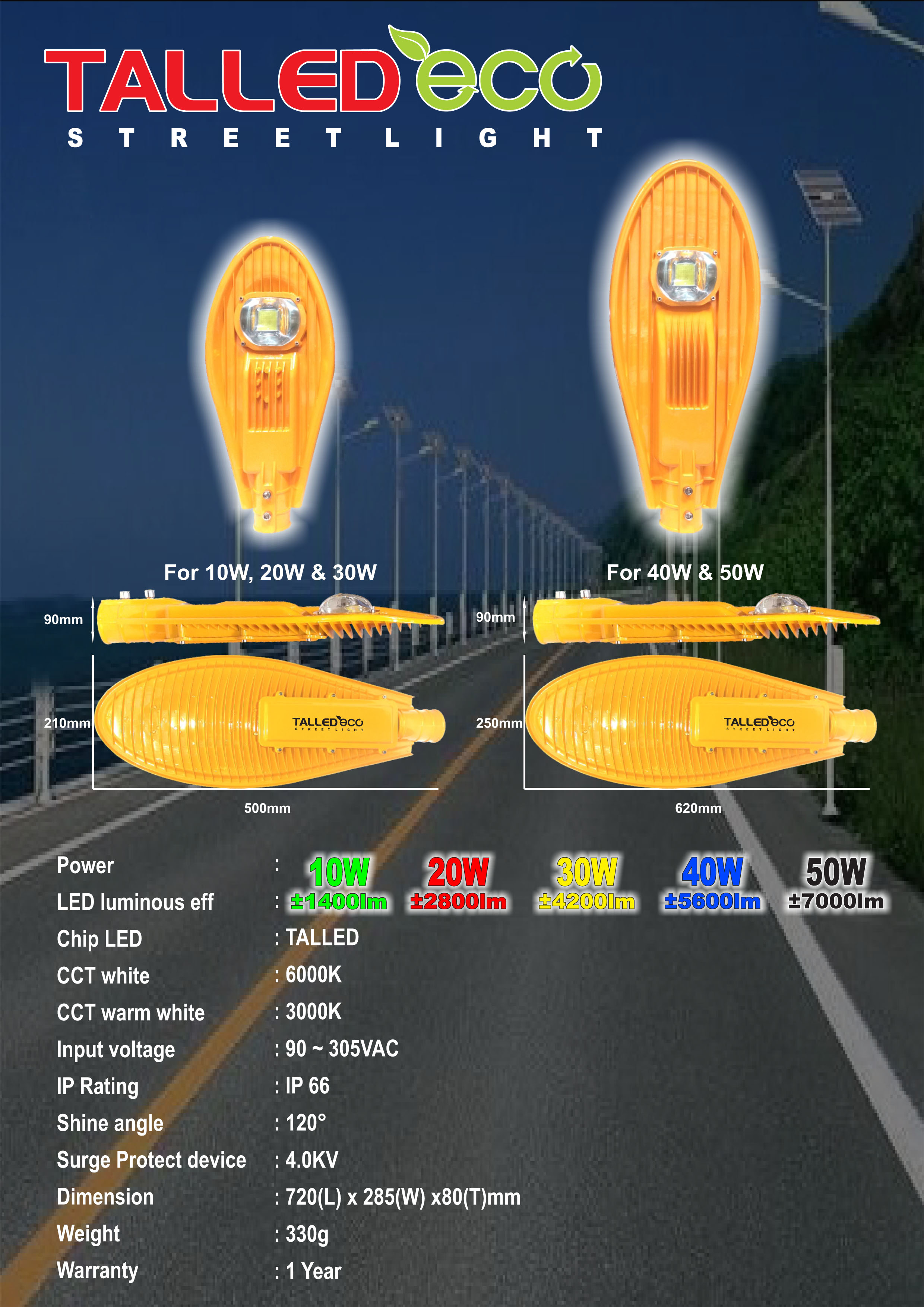 Lampu Jalan PJU LED Talled ECO